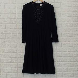 Vintage wool long sleeve beaded fit & flare dress